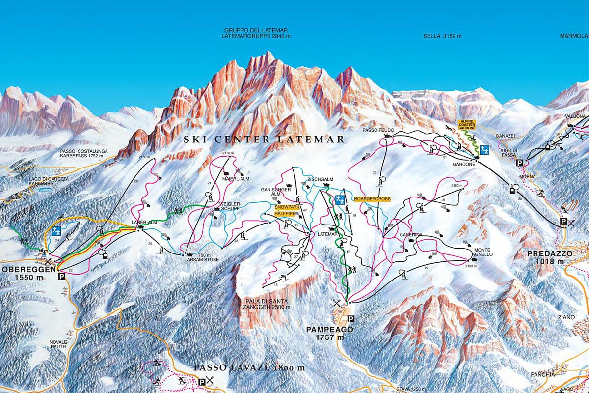 Ski area Latemar - Obereggen - Pampeago - Predazzo map