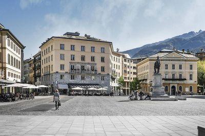 Piazza Garibaldi e centro storico di Sondrio
